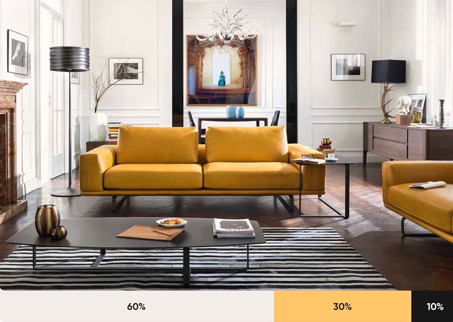 Ví dụ về tỷ lệ 60 - 30 - 10 trong sơn nhà