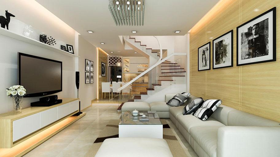Cách đặt kệ tivi và sofa trong phòng khách