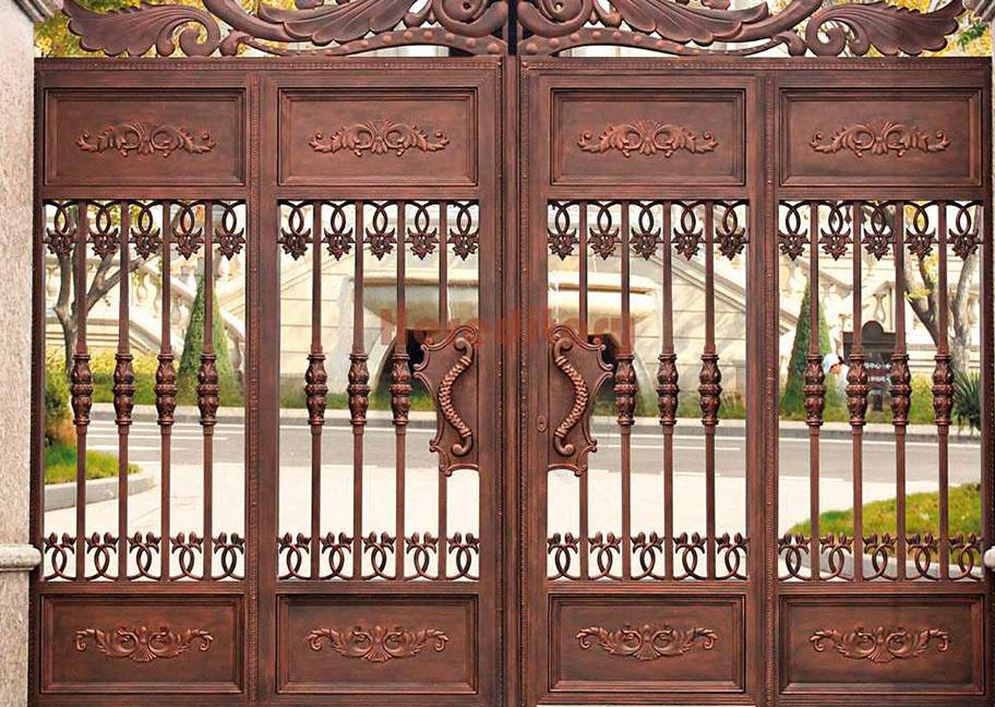 Mẫu cửa sắt 4 cánh màu giả gỗ