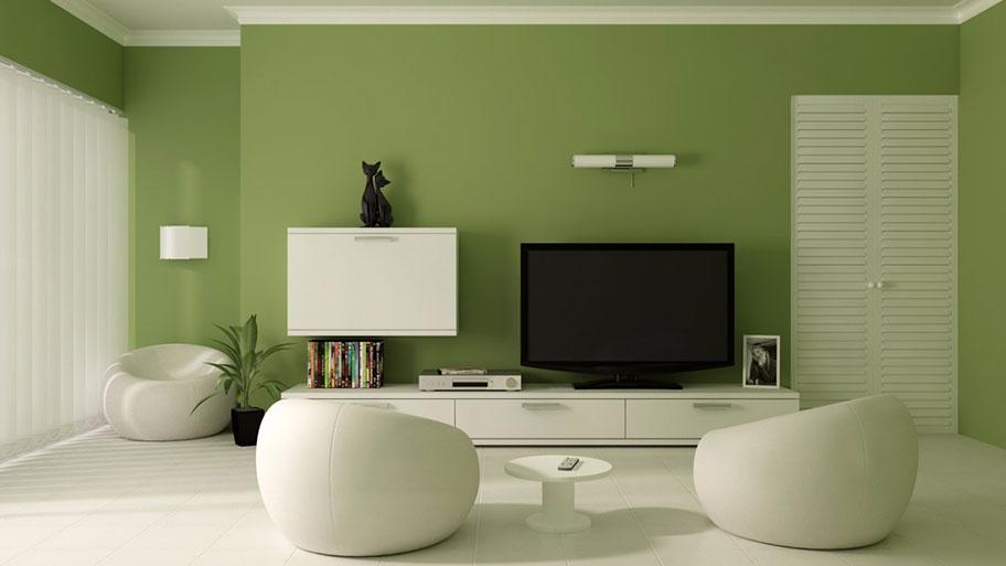 Mẫu phòng khách sử dụng màu sơn xám lá cây đẹp