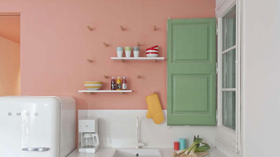 Mẫu tường nhà sơn màu hồng cam