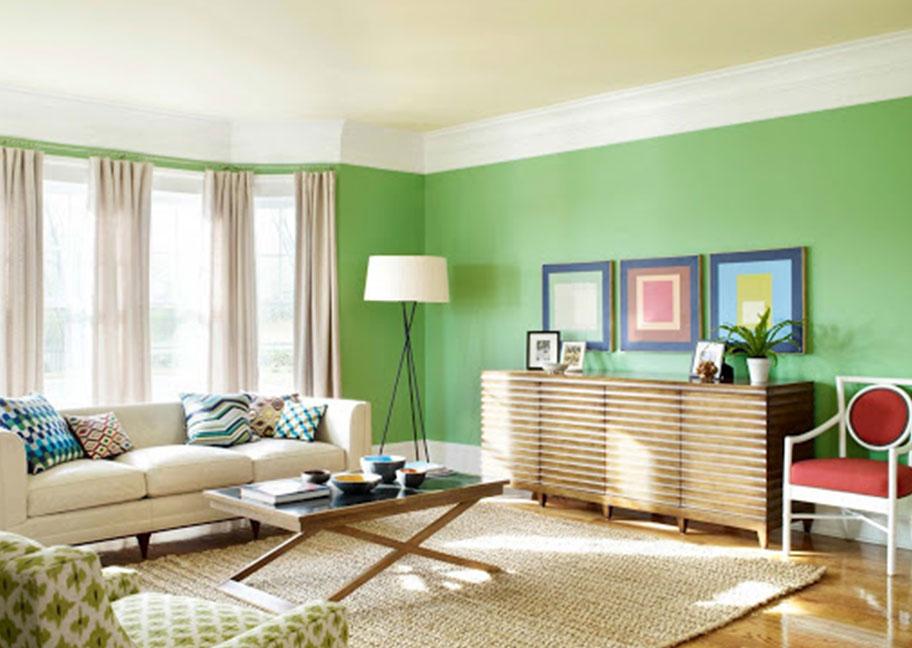 Phối màu sơn tường xanh lá với đồ nội thất