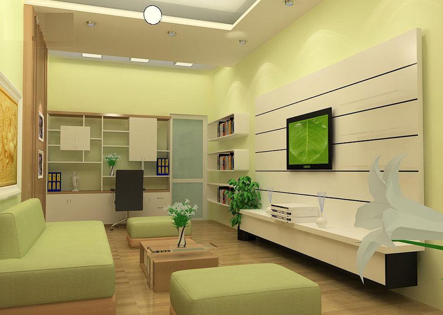 Phòng khách nhà ống sơn màu xanh nhạt
