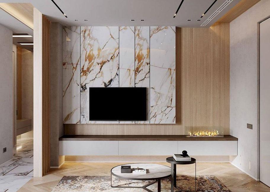 Phòng khách ốp gỗ kết hợp với đá cẩm thạch