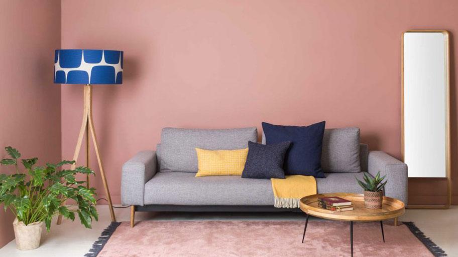 Sơn phòng khách màu hồng pastel