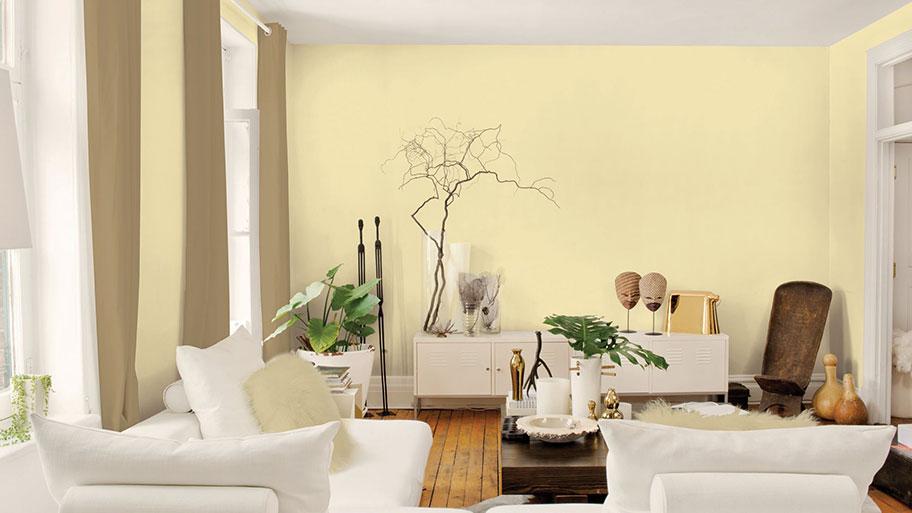 Sơn tường phòng khách màu vàng nhạt