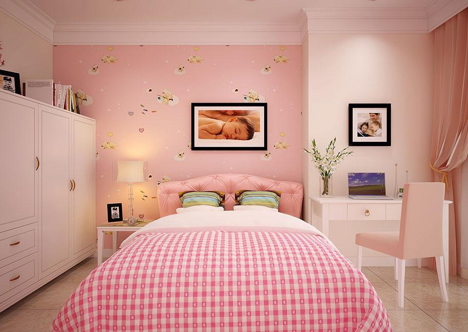 Phòng ngủ sơn màu hồng cho bé gái