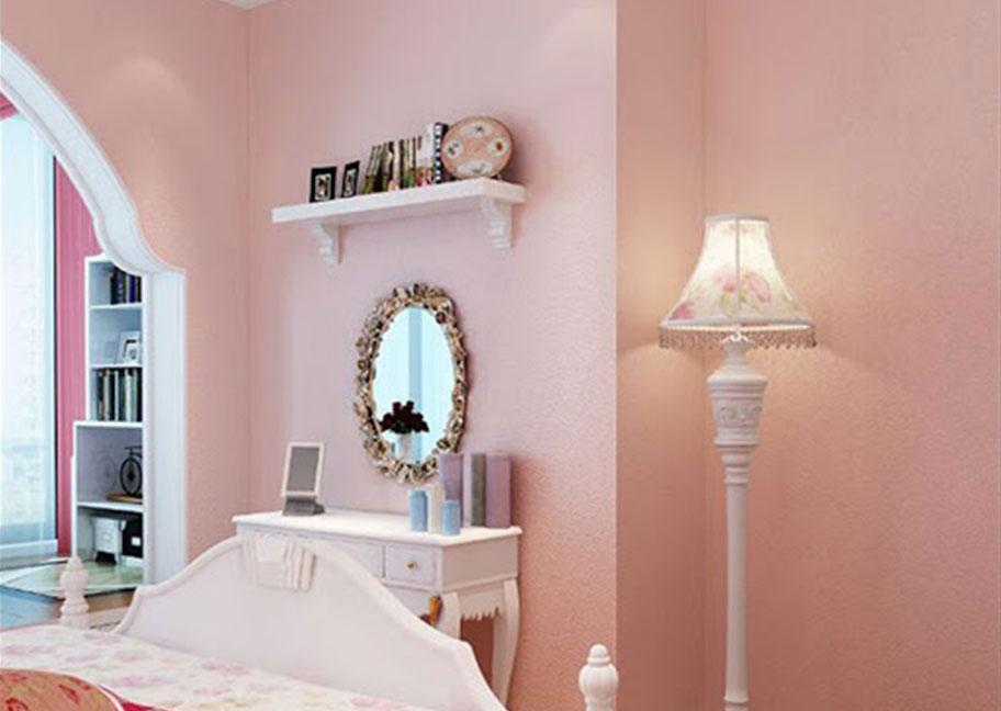 Phòng ngủ sơn màu hồng kem