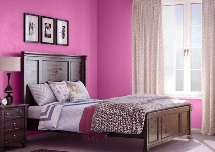 Phòng ngủ sơn tường màu hồng tím