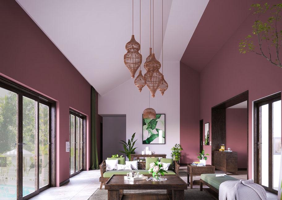 Sơn nhà màu hồng tím sang trọng