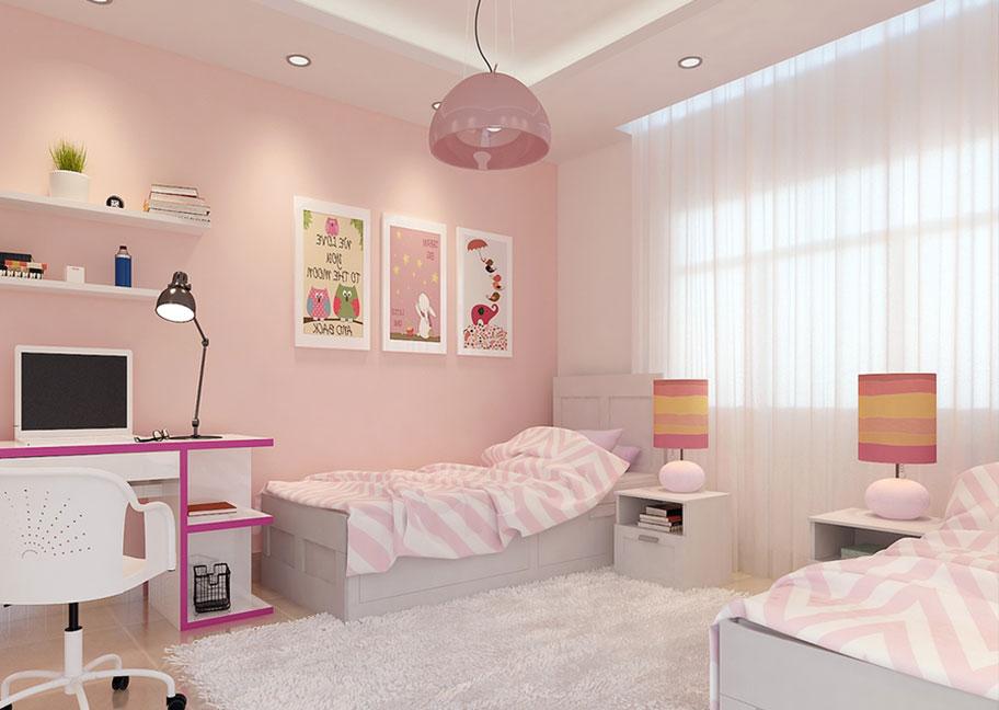 Sơn phòng ngủ màu hồng nhạt