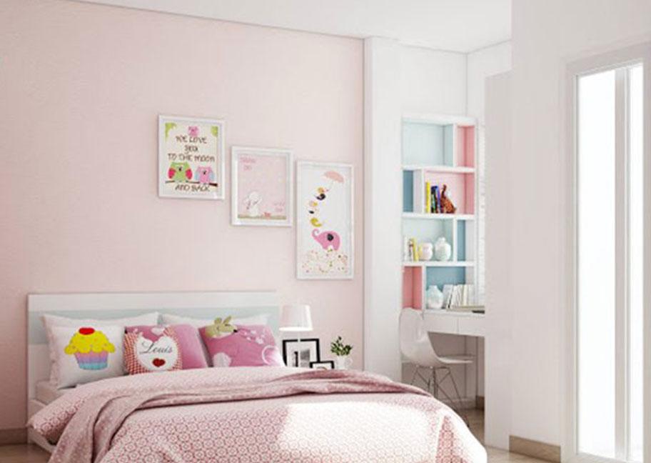 Sơn tường nhà màu hồng kem