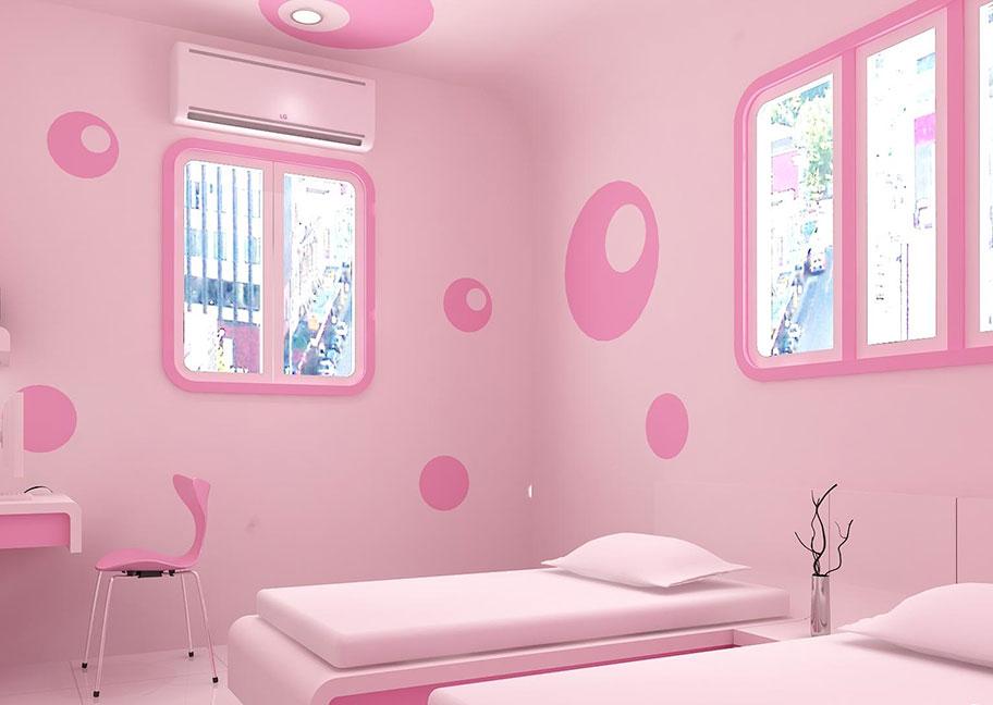 Sơn tường phòng ngủ màu hồng nhạt