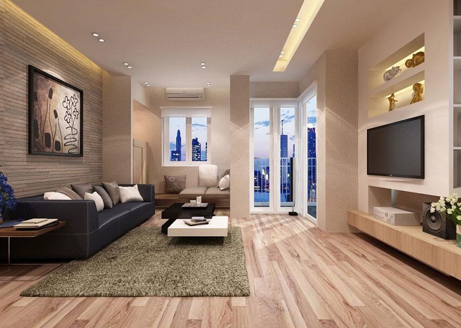 Sử dụng gỗ nhân tạo để trang trí phòng khách