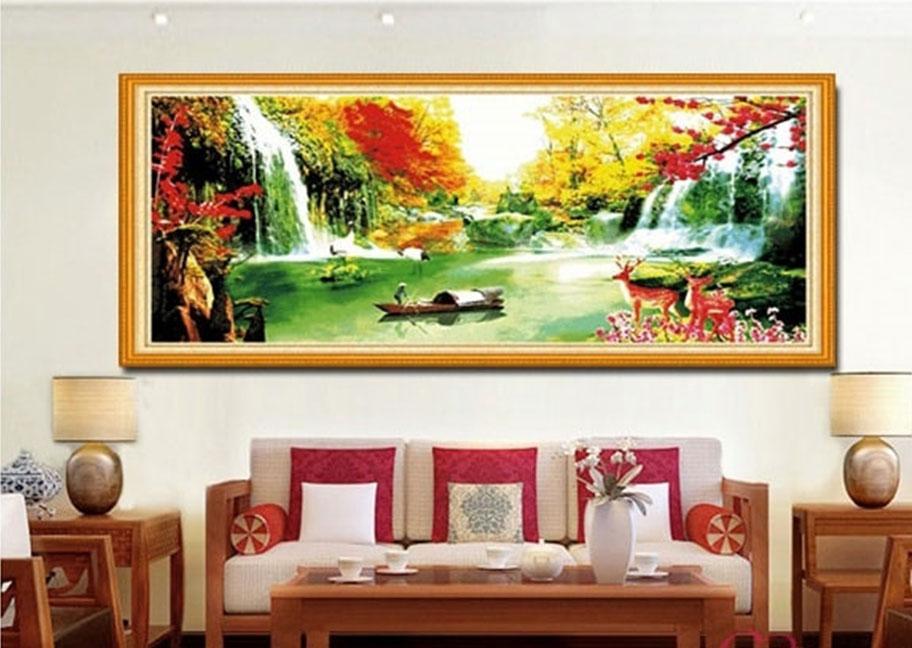 sử dụng tranh phong thủy trang trí tường phòng khách