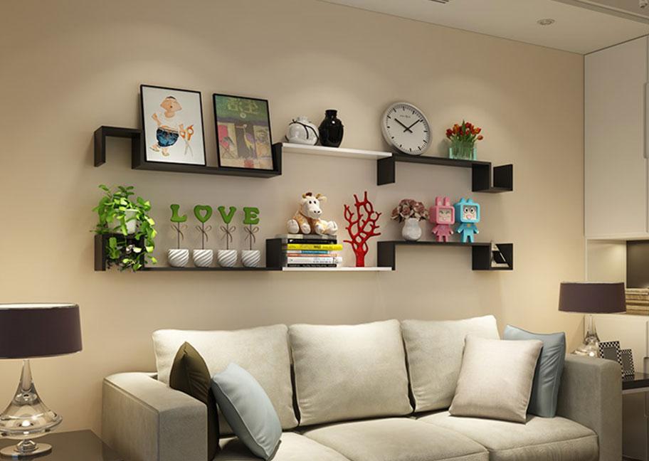 Trang trí kệ treo tường phòng khách