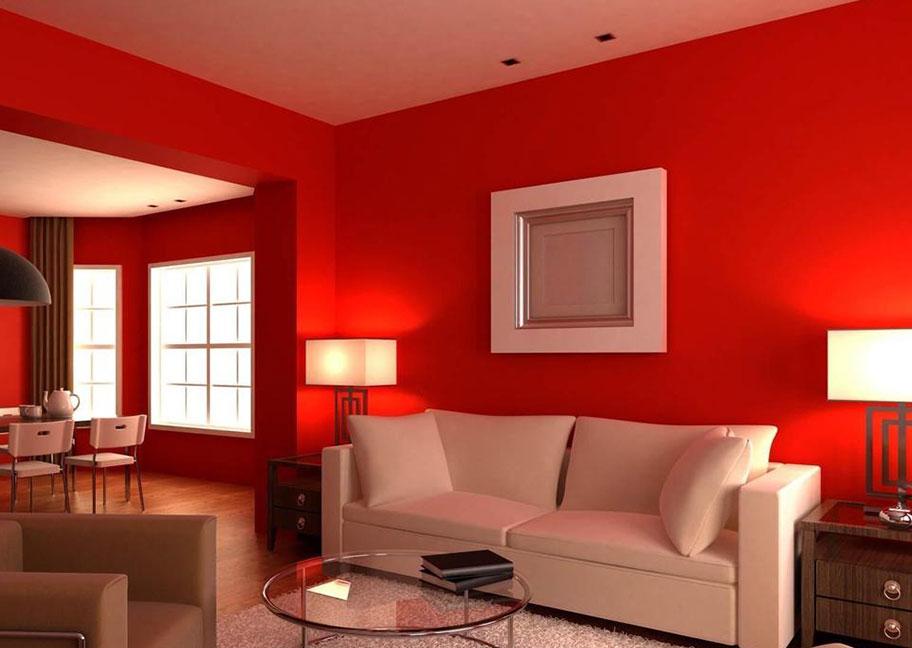 Sơn tường màu đỏ làm cho phòng khách thêm nổi bật