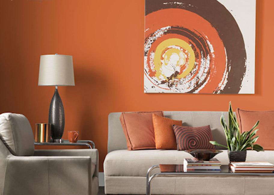 Trang trí phòng khách bằng sofa đèn và cây cảnh