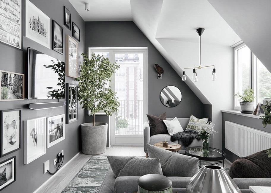 Trang trí phòng khách bằng cây xanh và hệ thống đèn điện