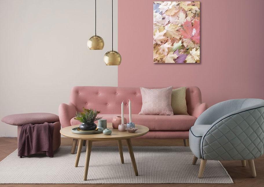 Trang trí phòng khách bằng sơn tường màu hồng trắng