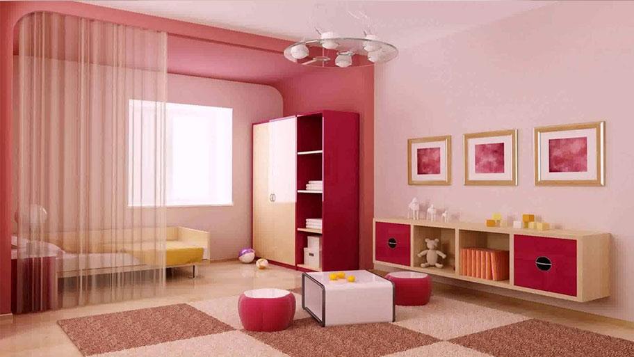 Trang trí phòng khách với tường nhà màu hồng