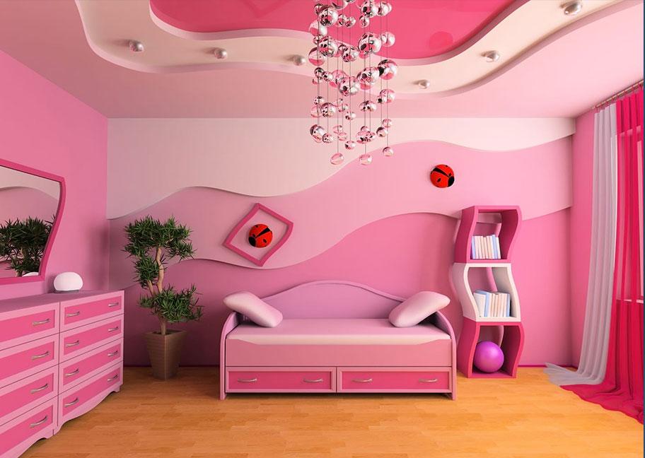 Trang trí tường nhà màu hồng ấn tượng