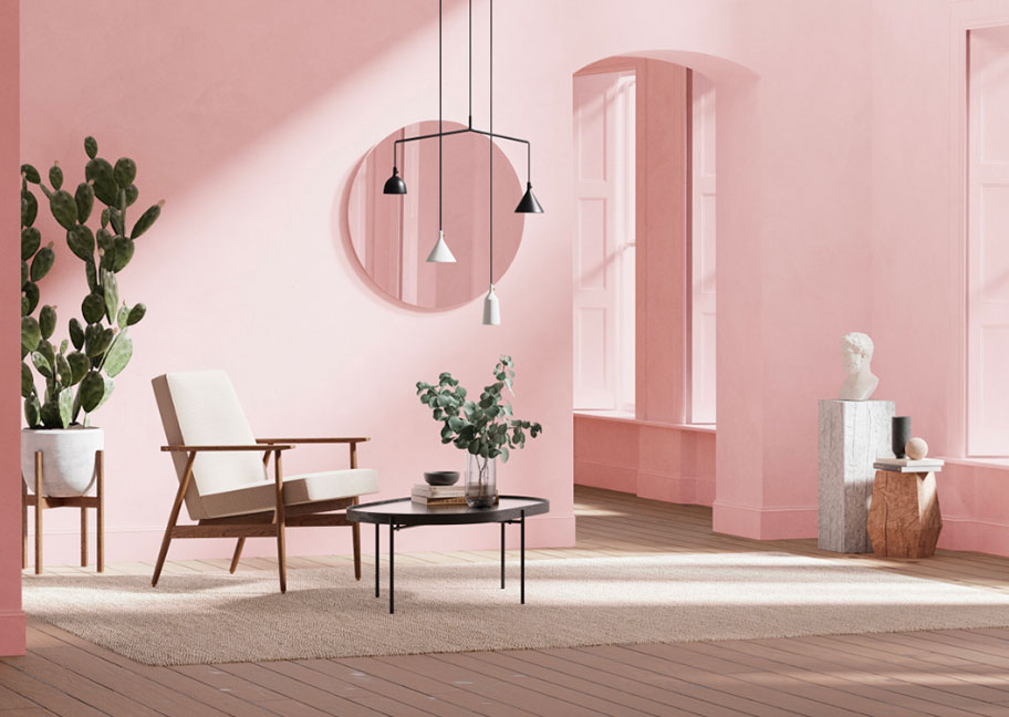 Tường nhà sơn màu hồng đất đẹp